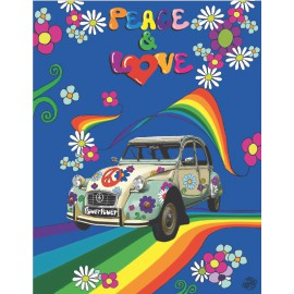 Toalla de playa estampada gigante 140x180 cm algodón 100% peace and love 2CV